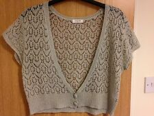 Lovely Light Grey Crochet Short Sleeve Cardi