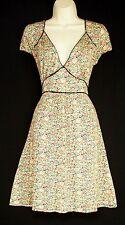 WAREHOUSE SIZE 12 40s WW2 LANDGIRL VINTAGE STYLE TEA DRESS FLORAL # US 8 EU 40