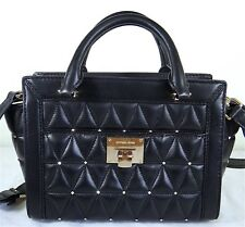 Michael Michael Kors Vivianne Black Quilted Stud Leather Small Messenger Bag