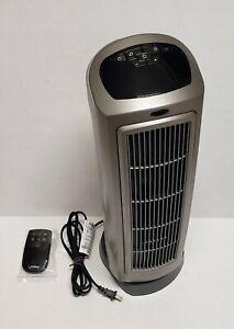 Lasko 1500W Ceramic Tower Space Heater with Remote, 5538, Grey