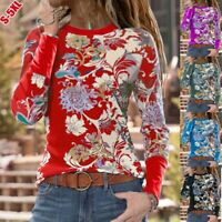 Women Crew Neck Casual Tops Long Sleeve T Shirt Floral Loose Blouse Tunic