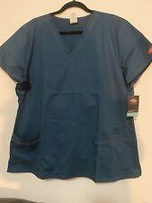 dickies gen flex Healthcare Worker Nurse Scrub Top Caribbean Blue Sz 2Xl Nwt
