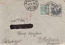 Croce Rossa 15+5 cent(103)+5 cent(81) Michetti-Busta da Sondalo 23.10.1918