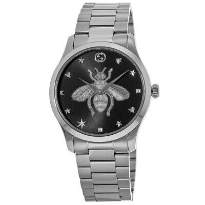 New Gucci G-Timeless Black Dial Stainless Steel Women's Watch YA1264136