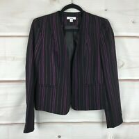 Bar III Striped Open Front Two Pocket Long Sleeve Womens Size Small Black Jacket