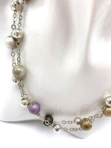 Sterling Silver Multiple Ball Chain Necklace 8mm and 10mm Beads