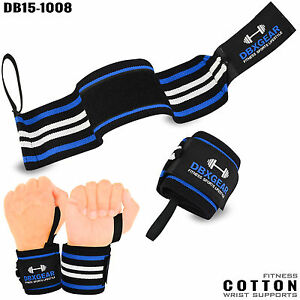 Weight Lifting Cotton Wrist Support Bandage Elasticated Gym Wraps Workout PAIR