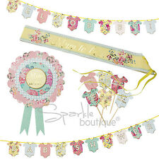 Conjunto de ducha de bebé-mamá-a-ser Roseta & Sash, empavesado & Pastel Decoraciones-Unisex