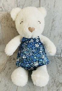 Carters White Plush Bear Wearing Blue Floral Flower Dress Baby 2014 Closed Eyes