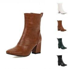 Женские умный офисная работа квадратный носок блок пятки лодыжки сапоги боковая молния насосы D
