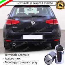 TERMINALE SCARICO CROMATO LUCIDO ACCAIO INOX VW GOLF 7 VII SCARICO TONDO