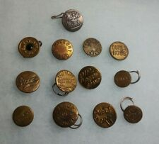 Antique Lot Of 13 Brass Steel Back Overall Clothing Advertising Buttons