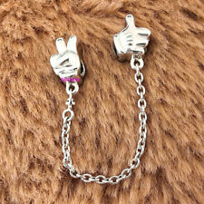 925 Sterling Silver Disney Mickey Gestures Safety Chain European Charm