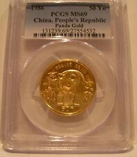 China 1986 Gold 1/2 oz Panda 50 Yuan PCGS MS-69