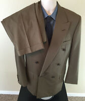 Oxxford Clothes WOOL Suit Sz 44R Double Breasted Olive 34x29 Pleated Peak Lapels
