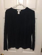 Susan Graver Black Floral Long Sleeved Size XLarge