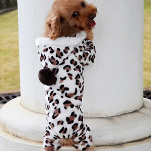 Fashion Leopard Warm Winter Pet Dog Puppy Clothes Hoodie Jumpsuit Pajamas