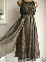 MONSOON CARLITA GOLD BRONZE BLACK EMBELLISHED GRECIAN XMAS PARTY EVE DRESS 14