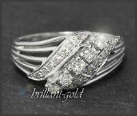 Diamant 585 Gold Ring mit 0,65ct Brillanten, 14Karat Weißgold Damen Cocktailring