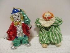 2 VINTAGE 3 INCH TALL CLOWN CHRISTMAS ORNAMENTS FOUND AT ESTATE SALE NO BOX