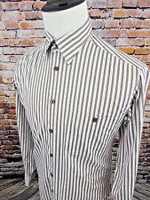 IKE BEHAR NY Men's Button Down Brown White Blue Dress Shirt Striped sz Medium M