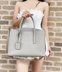 Kate Spade Margaux Large Triple Compartment Satchel True Taupe Grey Leather