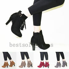 WOMENS LADIES CHUNKY BLOCK ANKLE BOOTS FRINGE TASSEL HIGH HEELS SHOES SIZE UK3-8