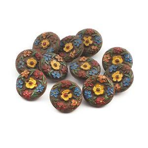 handpainted in yellow Czech crystal buttons 23mm Vintage Czech glass buttons,6 buttons