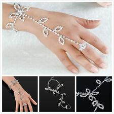 Fashion Ladys Bridal Wedding Crystal Rhinestone Slave Bracelet Hand Harness Ring
