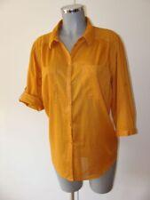 Blusa transparente túnica talla 44 en mostaza Camel manga corta i69