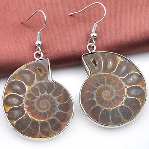 Big Promotion! Woman Huge Natural Ammonite Fossil Gesmtone Silver Earrings