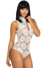 New Ladies White Black Floral Lace Sleeveless Bodysuit Leotard Sheer Top 10-12