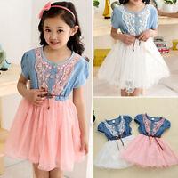 Kid Girls Denim Top Princess Lace Dress Tulle Vest Summer Tutu Skirt 2-6 Years