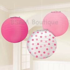 Lanterns Girl Pink & Dots (24cm) Baby Showers, Birthday, Party Supplies, 3 pack