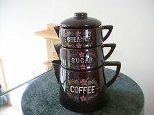 Tilso Coffee Pot Triple Stack Creamer & Sugar Handpainted TIlso Made In Japan