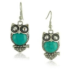 Vintage Turquoise Blue Owl Drop Earrings E560