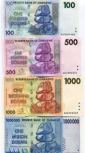 Zimbabwe Scarce 2007/8 German Printed 4 Note Set $100 to 1 Million Dollars Notes