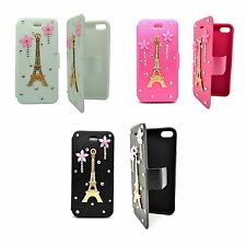 CASE APPLE IPHONE 4 4S CLEAR RHINESTONE EFFIE TOWER PINK FLOWER WALLET COVER