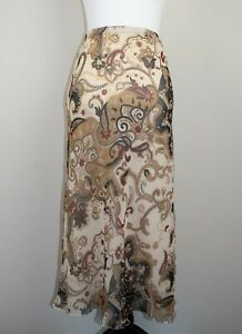 Kushi Coffee & Cream Paisley Floral Print Floaty Chiffon Midi Skirt BNWT Size 12