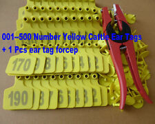 001--500 Number Yellow Cattle Ear Tags + ear tag forcep