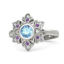 Fashion Silver Openwork Snowflake Aquamarine Engagement Ring Jewelry Size 6