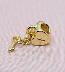 Gold Heart Lock and Key Charm for European Style Charm Bracelets and Necklaces