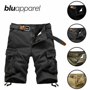 Blu Apparel Mens Cargo Shorts Summer Casual Work S M L XL 2XL Black Beige Green