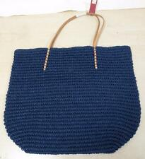 Merona Target Leather Straw Beach Tote Bag Purse Navy Natural Paper/leather