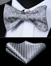 Men Woven Gray Check&Plaid Self Bow Tie Pocket Square Butterfly Silk Set#BC615AS