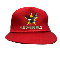 HALES CORNERS POLICE Snapback Red Baseball Trucker Cap Hat Rope WI Vintage   YZ