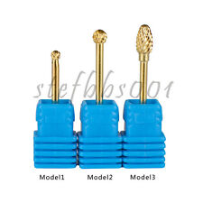 Gold Coated Ball Head Nail Drill Bit 3/32 Shank Manicure Pedicure Rotary Tools