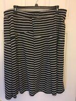 Relativity Woman Stretchy Flare A-line Black White Stripe Skirt Plus Size 3x