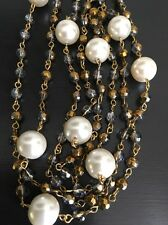 "Amrita Singh 58"" Station Necklace.Chain with Gold Beads & Faux Pearl"