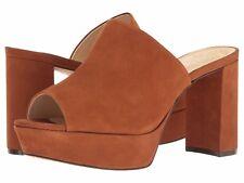 Vince Camuto Basilia Leather Slip-On Peep Toe Block Heel, Sizes 6-11 Maple Brown